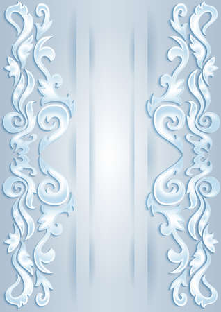 lllustration: Illustration of abstract ornamental borders from icy cutouts in blue and white colors