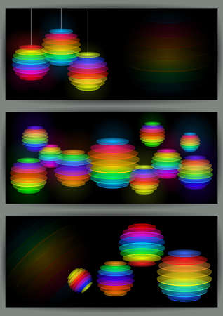 Illustration of collection of banners with abstract sliced transparent spheres in various colors Vector