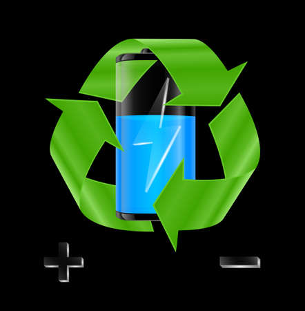 Illustration of transparent battery with blue charge indicator and recycle sign on black background