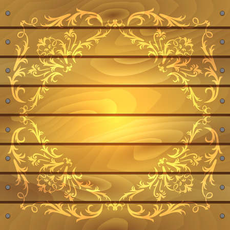 Illustration of floral frame on wood background with borders from nails