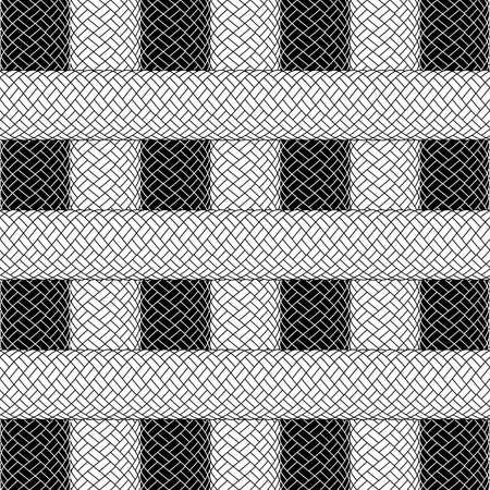 spliced: Illustration of abstract background with woven ropes in black and white colors