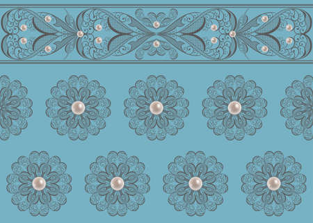nacre: Illustration of seamless pattern with abstract lacy ornament with pearls