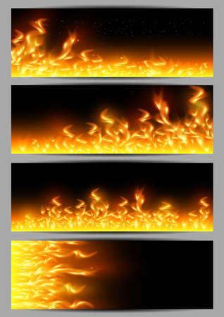 sizzling: Illustration of banners with fire flame borders on black background Illustration