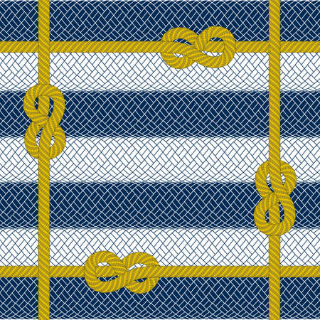 spliced: Illustration of woven yellow rope frame on striped rope background