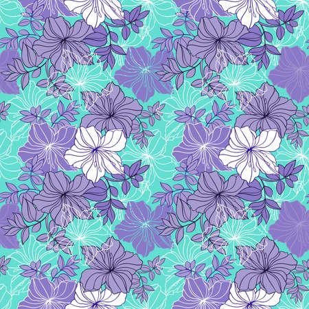 laurier rose: Illustration du motif floral transparente de couleur lilas, les couleurs vertes et blanches Illustration