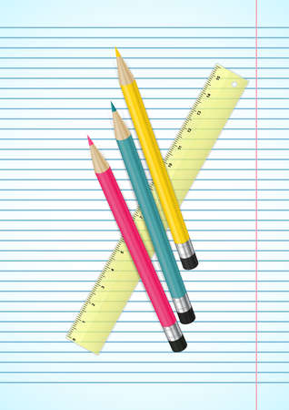 erasers: Illustration of colorful pencils with erasers and ruler on ruled paper