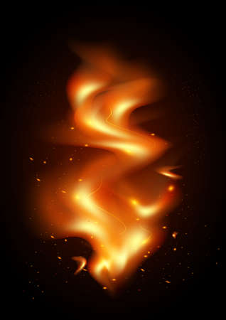 Illustration of tongues of flame and sparks on black background
