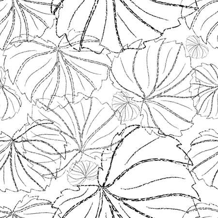 monochromic: Illustration of seamless floral pattern from charcoal outlines of leaves in black and grey colors Illustration