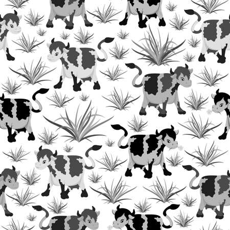 brute: Illustration of seamless pattern with cows in black and grey colors
