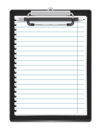 Illustration of clipboard with ruled paper and pencil isolated