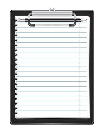 foglio a righe: Illustrazione di appunti con carta a righe e matita isolato Vettoriali