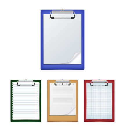 ruled: Illustration of clipboards in various colors with ruled, checked and blank paper isolated