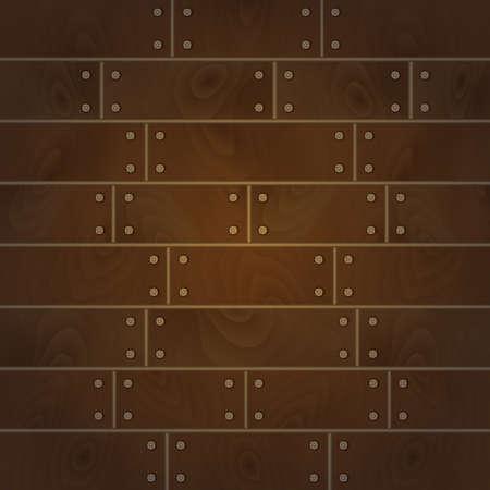 шпон: Иллюстрация фоне из деревянных досок в коричневый цвет с гвоздями Иллюстрация
