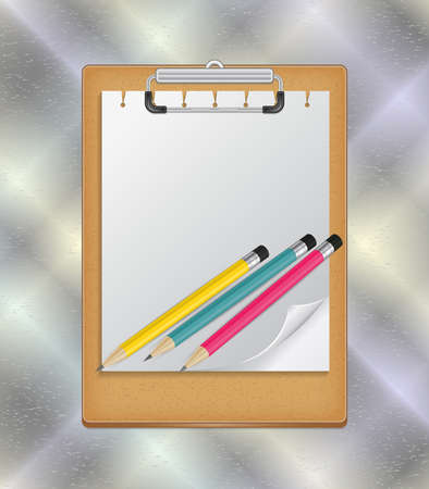curled: Illustration of clipboard with blank paper, curled corner and pencils