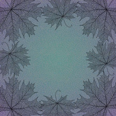 reticular: Illustration of maple leaves frame on reticular background Illustration