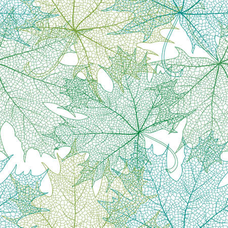 Illustration of seamless pattern from maple leaves in green colors isolated