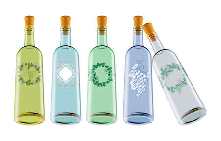 Illustration of colorful wine bottles with labels isolated Illustration