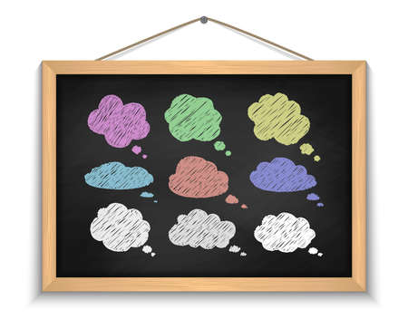 Illustration of chalkboard with chalked cloud speech bubbles in various colors