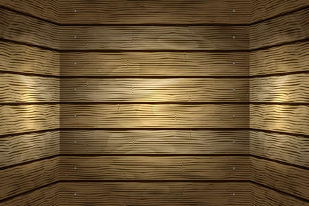 knotty: Illustration of background from shabby wooden planks with nail borders Illustration