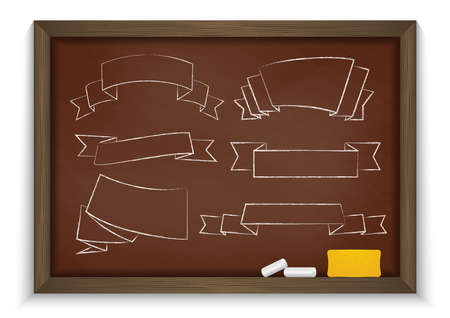 knotty: Illustration of chalkboard with chalk, eraser and chalked ribbons