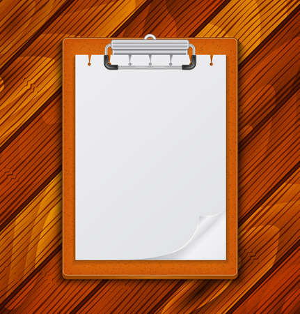 curled corner: Illustration of clipboard with blank paper and curled corner on wooden background Illustration