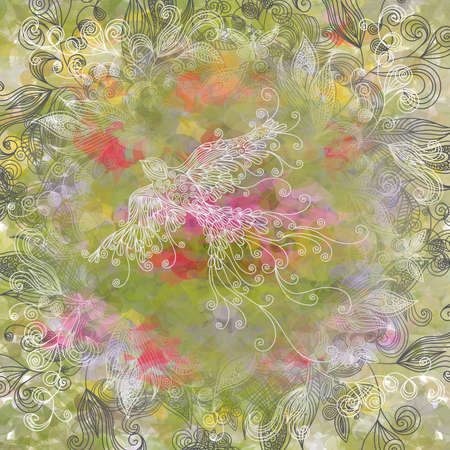 Illustration of abstract background with doodle birds, butterflies and floral ornament