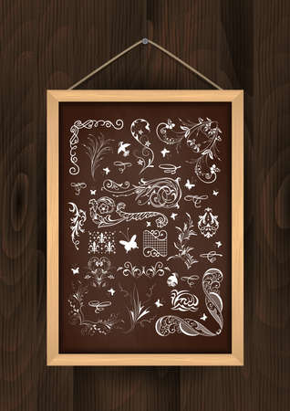 knotty: Illustration of chalkboard with floral ornaments and design elements on wooden background