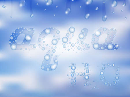 damp: Illustration of aqua letters shaped like water drops with damp glass background Illustration
