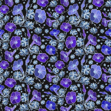 Illustration of seamless colorful floral pattern on black background Illustration