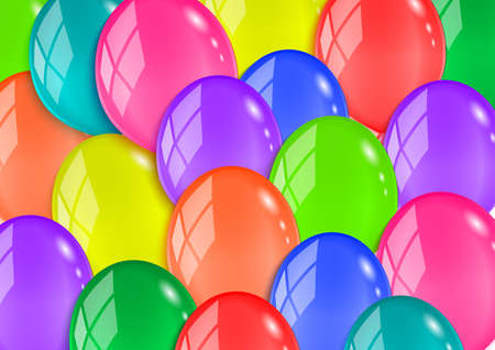 gaiety: Illustration of glossy balloons in various colors