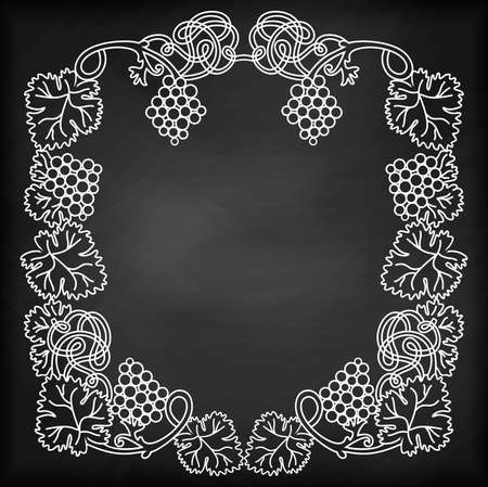 grapevine: Illustration of chalkboard with abstract grapevine frame and bunches of grapes Illustration