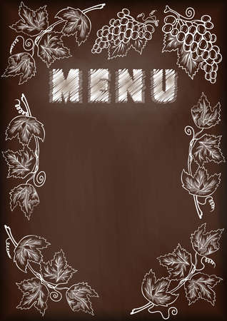 blank template: Illustration of blackboard with chalked menu and grape frame Illustration