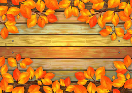 Illustration of golden leaves frame with background from shabby wooden planks with cracked color paint and nail borders Illustration
