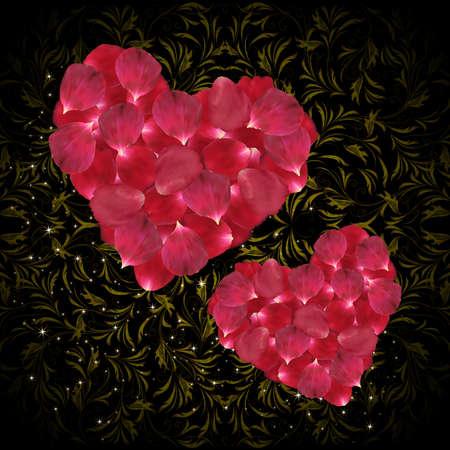 pink rose petals: Illustration of pink rose petals in shape of heart and ornamental background