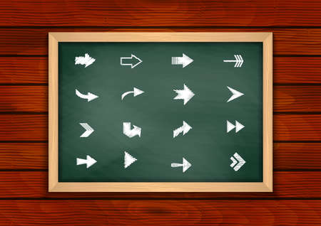 Illustration of chalkboard with chalked arrows and wooden background