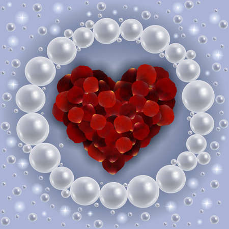 petal: Illustration of template for wedding, greeting, invitation or valentines day card with red rose petal heart, shiny pearl frame and background