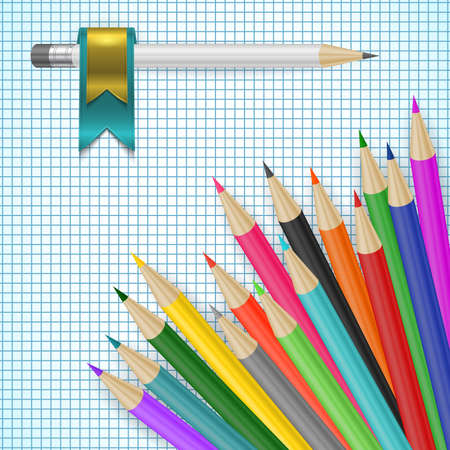 coloured pencil: Illustration of pencils in various colors with checked paper background Illustration