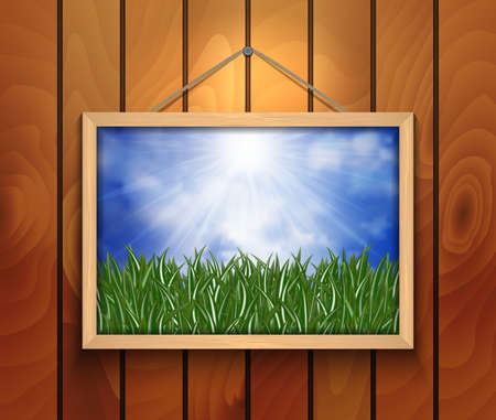 green grass and blue sky: Illustration of picture with green grass, blue sky and clouds on wooden background Illustration