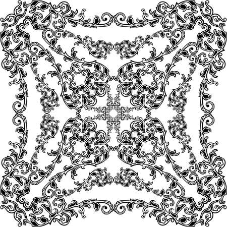 monochromic: Illustration of seamless pattern with abstract ornament in black color isolated