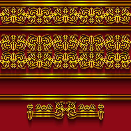golden color: Illustration of border decoration template with abstract ornament in golden color and red background