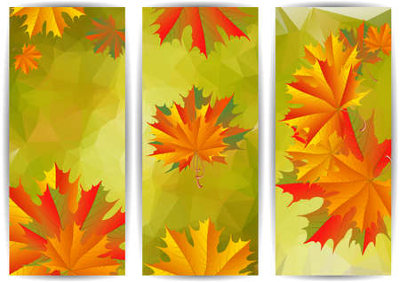 Illustration of banners with colorful maple leaves and triangle background