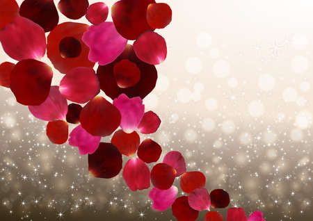 red rose bokeh: Illustration of colorful red and pink rose petals and bokeh background with glitters Illustration