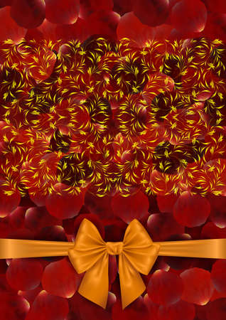 petal: Illustration of red rose petal background with golden floral ornament and bow