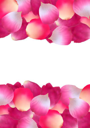Illustration of pink rose petal borders isolated