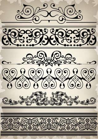 burnt paper: Illustration of design elements, dividers and borders on burnt paper background Illustration