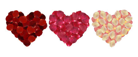 scatter: Illustration of rose petals in shape of hearts in various colors isolated