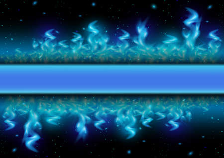 blue flame: Illustration of blue flame tips and sparks on black background Illustration