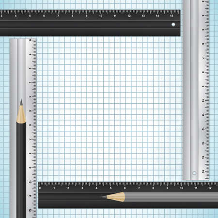 sharpened: Illustration of pencils and rulers on checked paper background