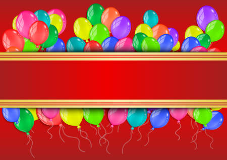 red balloons: Illustration of banner with colorful glossy balloons on red background