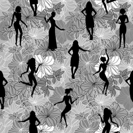 monochromic: Illustration of seamless pattern with flowers and female silhouettes in black, grey and white colors Illustration